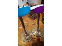 2 dunelm teal purple chrome adjustable stools kitchen dining