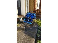 Out n About Nipper 360 V4 double buggy. Lagoon Blue. Rain cover unopened + storage basket.