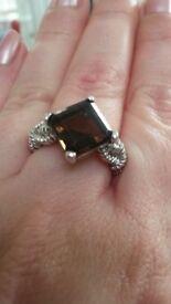 Large smokey brown quartz ring in silver
