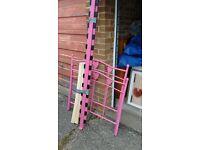 girls single metal pink framed bed