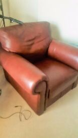 Leather sofa with armchair for sale