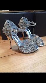 Silver Diamanté Ladies shoes UK Size 4