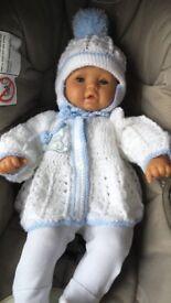 baby crochet blanket cardigan and helmet