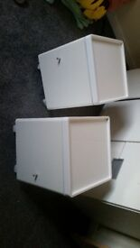 White gloss bed side tables x2