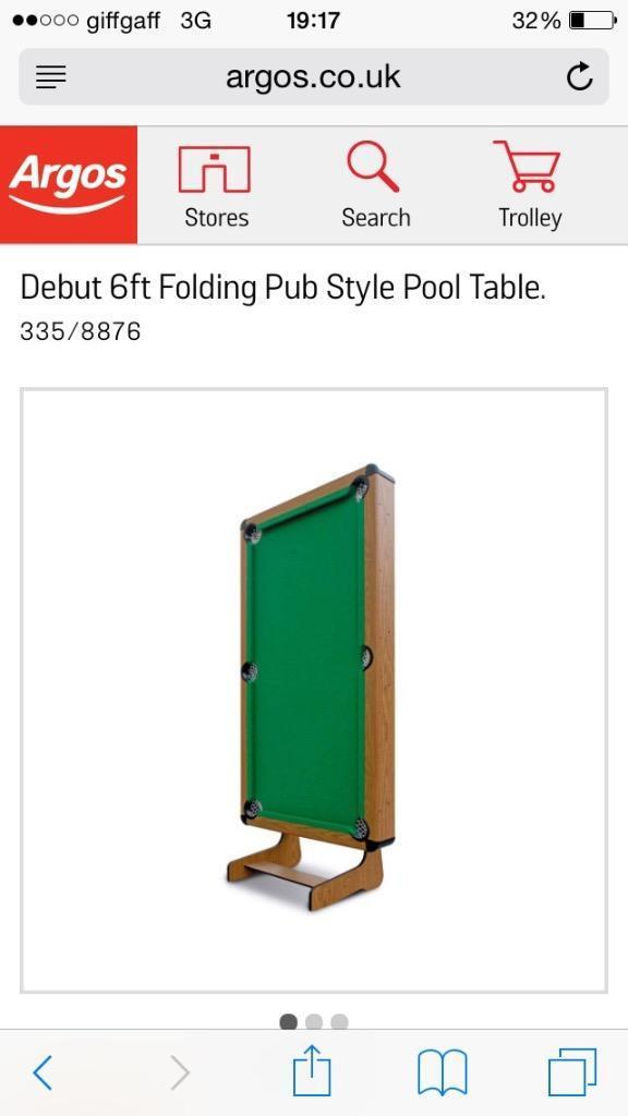 6ft Debut Folding Pool Table