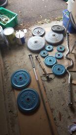 80 kg weights plus spin lock chrome barbel, ez bar an one dumbell bar