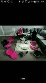 Silver cross surf 2 raspberry pink with car seat and accessories
