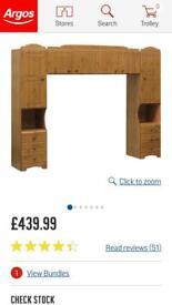 Pine over bed storage unit