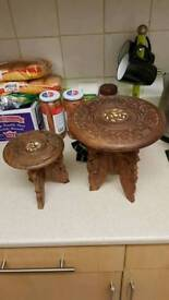 2 carved wooden stands