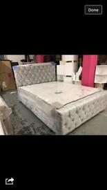 Luxury crushed velvet double bed new including luxury memory mattress