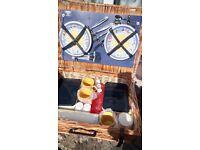 Picnic Basket. Wicker unused 4 place settings storage jars sandwich boxes