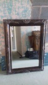 Black/bronze distressed mirror