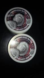 2 x 200g tubs of the body shop coconut shimmer body butter
