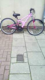 "Pink Apollo Fs.24 Dual Suspension Mountain Bike, 24"" Wheels, 18 Speed, 12.5"" Frame"