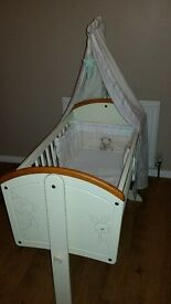 Crib with matching bedding