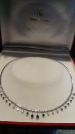 Stunning White Gold, Diamond & Saphire Necklace, Bracelet & Earing set value £13300 Bargain £5500