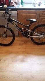 24 inch wheel mountain bike with 18 gears front and back suspension with front and back disc breaks