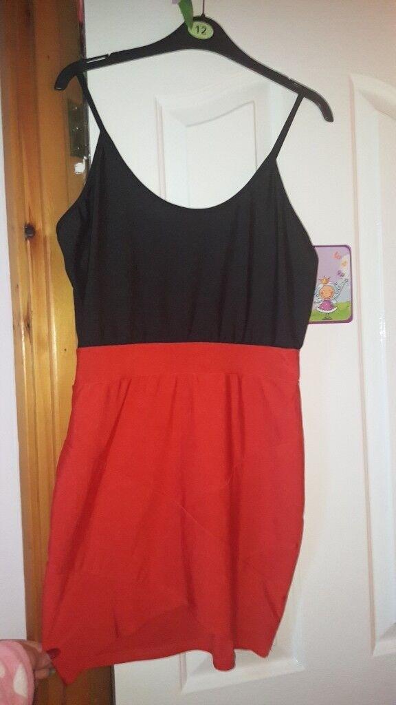 Black and Red Bandage Mini Dress