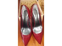 Leather size 7/40 beautiful dark red ladies shoes, 2 1/2 inch heel