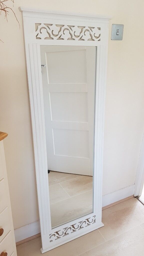 Large Long Wall Mirror Belgravia Shabby Chic White Painted