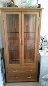 Solid Oak Glass Cabinet