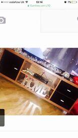 Dark oak and black gloss modern tv unit/stand