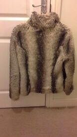Faux fur brown coat size 8