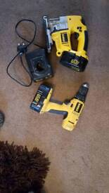 Dewalt 18v drill and jigsaw charger and 2 batteries