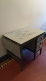 Vintage retro wooden writing desk / office table