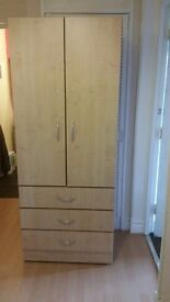 Double wardrobe with 3 draws at bottom