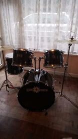 Drum kit full set. Gear4music 2 tom toms bass,snare,kettle drum. Good condition can deliver