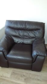 Two Large Brown Leather Armchairs