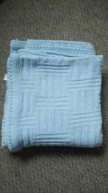 Baby boy blue pram blanket
