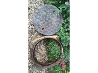 Wrought Iron round manhole and frame. 66cm/26 inches across