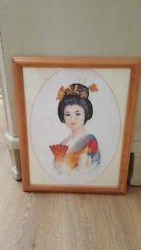 Framed Cross Stitch Tapestry picture of an Oriental lady