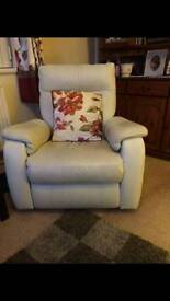 £50 must go this weekend!! Leather Recliner Chair - Cream / Off White