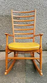 Retro 60s G-Plan Danish style rocking chair with mustard vinyl seat cover