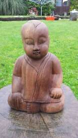 """A lovely hand carved wooden boy sitting 14"""""""