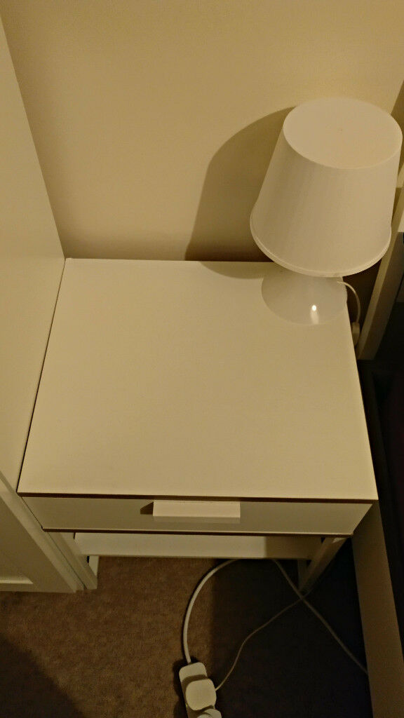Bedside table TRYSIL + lamp from IKEA
