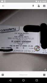 Logic standing concert ticket Birmingham 02 academy