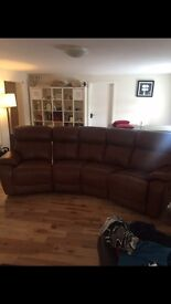 Brand new DFS leather sofa with 2 electric recliners