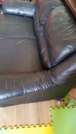 3 seats Black leather sofa