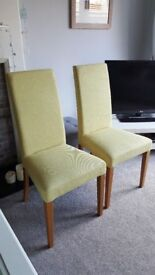 Pair of dining chairs in excellent condition, Fabric is a light green colour
