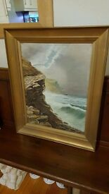 antique oil painting in original frame, signed and dated 1905