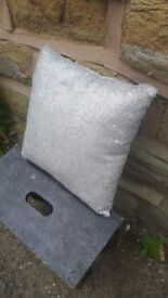 Small Silver / Grey Sequinned Cushion Pillow Sequins Square