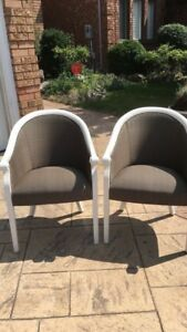 White Wooden frame cushioned chairs