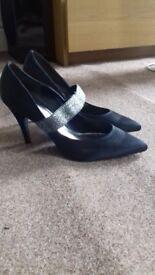 Used Black Satin Shoes UK 6 (brand- Dolcis)