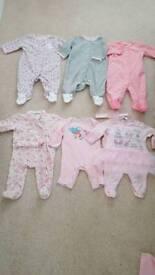 0-3m babygrow outfits & fleece babygrows