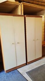 Pair Of Vintage Wardrobes & Matching Dressing CabinetIn Off White / Cream Colour