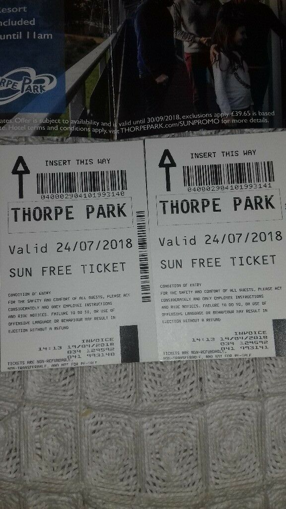 thorpe park tickets x 2 24/7/2018 school holidays | in Eastham, London |  Gumtree